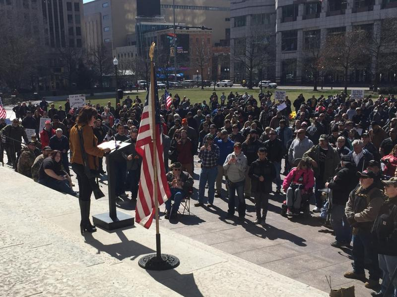 Lt. Gov. and gubernatorial candidate Mary Taylor speaks to gun rights enthusiasts in a March 10 rally outside the Ohio Statehouse.