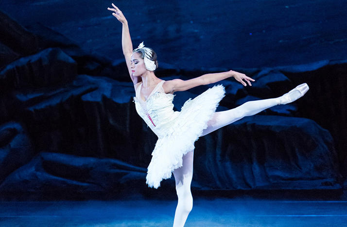 Ballerina Misty Copeland dancing on stage in Swan Lake