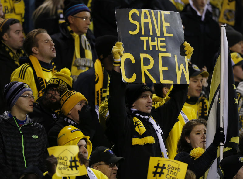 Columbus Crew fans show their support for their team as they play against Toronto FC during the first half of an MLS Eastern Conference championship soccer match Tuesday, Nov. 21, 2017 in Columbus.