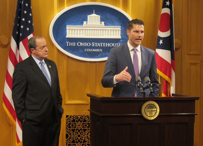 Columbus City Attorney Zach Klein and state Rep. David Leland announce their opposition to HB 228, which would limit local gun control.