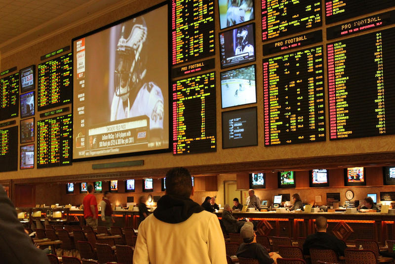 Betting on professional football in Las Vegas.