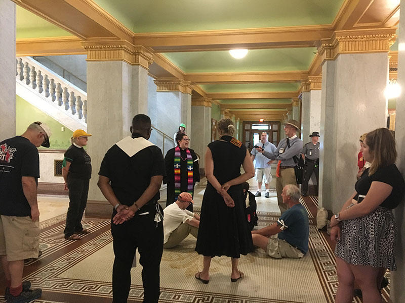 Activists for the Poor Peoples Campaign protested at the Ohio Statehouse on Tuesday, May 29, 2018.