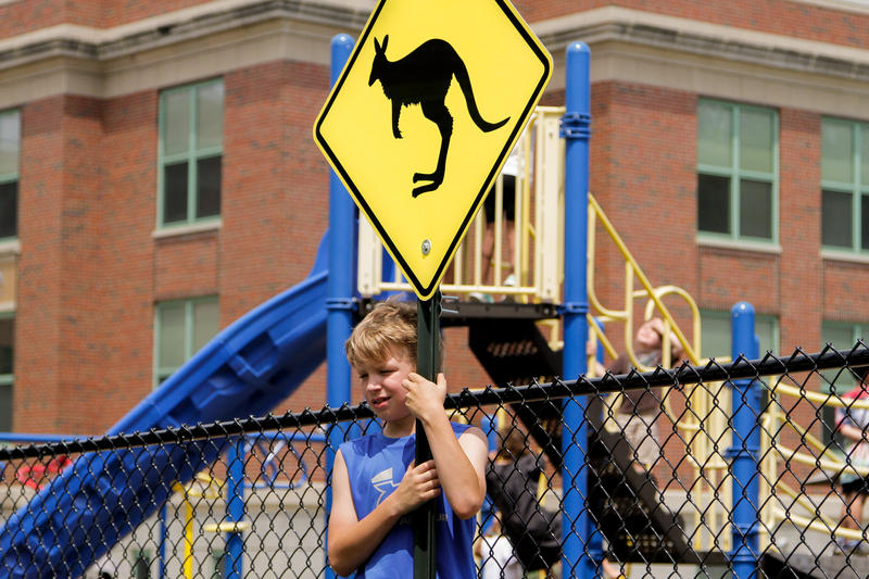 "On May 31, Clinton Elementary unveiled the revived ""Kangaroo Crossing"" sign on its playground, just a block away from its original location."