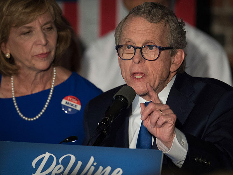 Ohio Attorney General and Republican governor candidate Mike DeWine addresses supporters after winning the primary election, Tuesday, May 8, 2018, in Columbus.