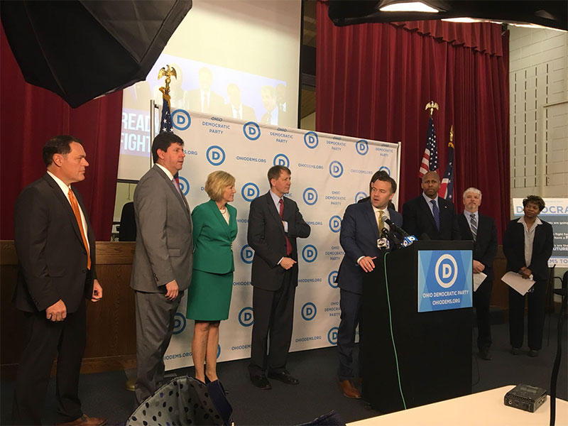 David Pepper, Ohio Democratic Party Chairman, with the party's statewide candidates