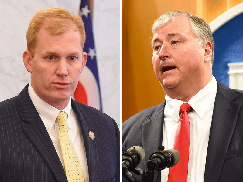 Rep. Ryan Smith (R-Bidwell, left) and Rep. Larry Householder (R-Glenford) are two of the leading contenders to be the next speaker of the Ohio House.