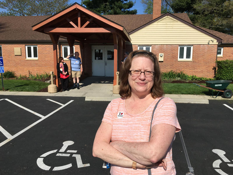 Teresa Shaw voted on Tuesday morning at the American Legion Hall in Westerville. She had 18 candidates to choose from in the 12th District primary.