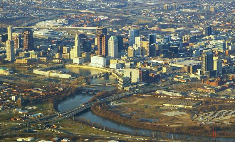 An aerial view of Columbus, Ohio