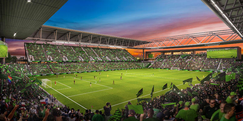 A  rendering of a proposed MLS stadium in Austin.
