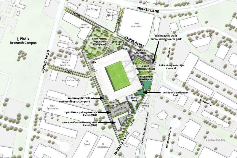 Precourt Sports Ventures released a new concept for a stadium plan in Austin that would include up to 130 affordable housing units.