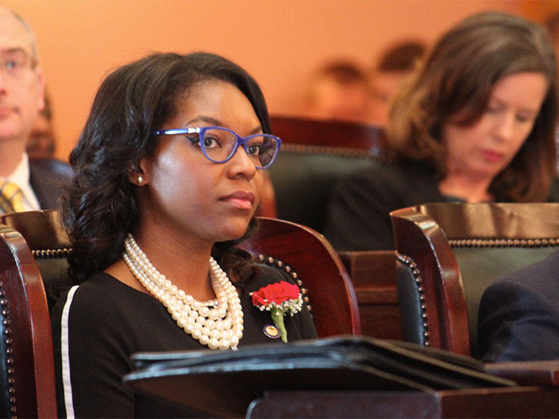 Ohio Rep. Emilia Sykes (D-Akron) in the Ohio House Chambers.