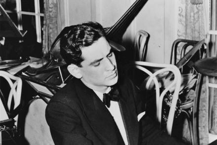 b&w photo of the young Leonard Bernstein