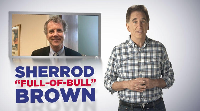 Screenshot from the first ad by Jim Renacci, responding to an earlier ad by Sherrod Brown.