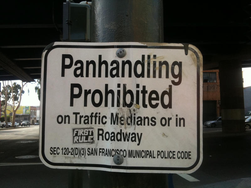 A sign in San Francisco prohibiting panhandling