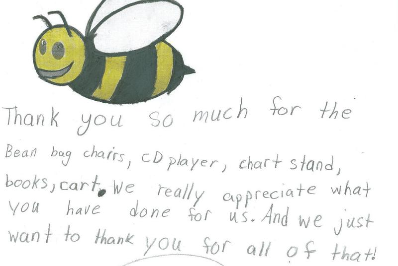 A thank you note from an Indiana student to a donor who contributed to an online fundraising campaign that benefitted the student's classroom.