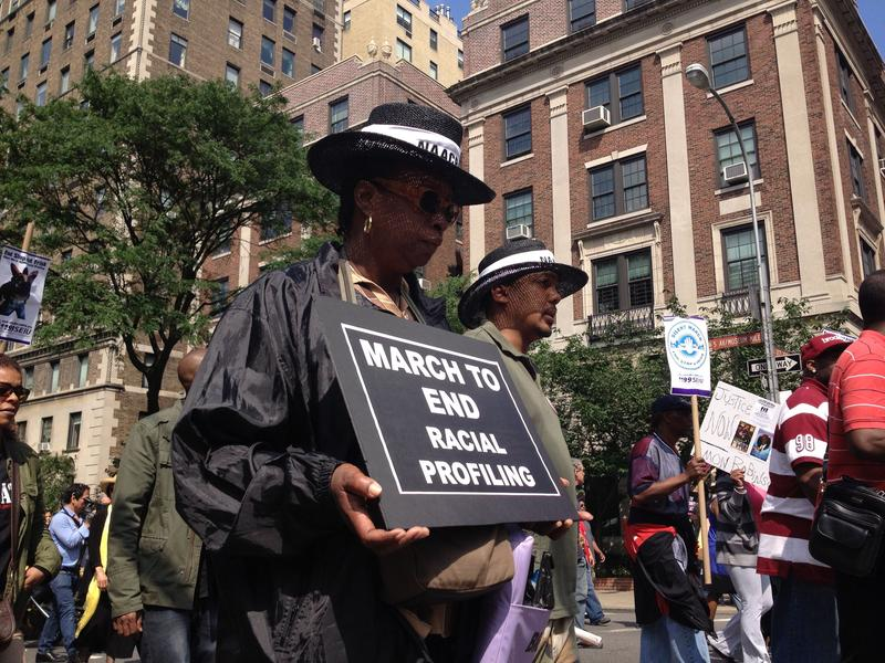 A protester at a 2012 silent march in New York City to end racial profiling