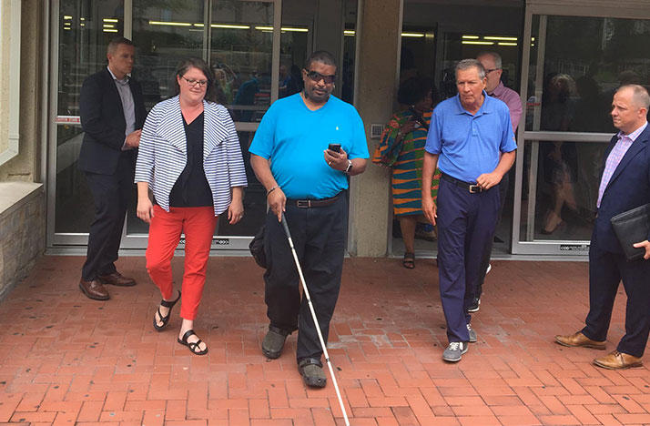 Columbus State student Patrick Simmons uses the new Blindspot app to navigate around the Columbus State campus.