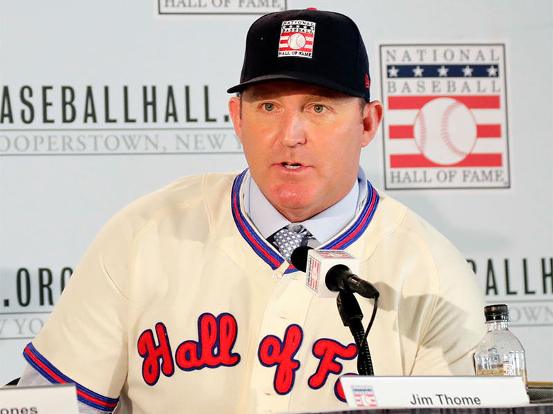 Baseball Hall of Fame inductee Jim Thome responds to questions during news conference Thursday, Jan. 25, 2018, in New York.