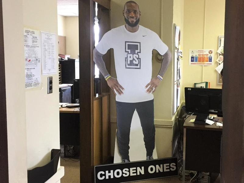 LeBron James' support for the I Promise School is already being recognized in the halls of the Akron Public Schools' administration building.