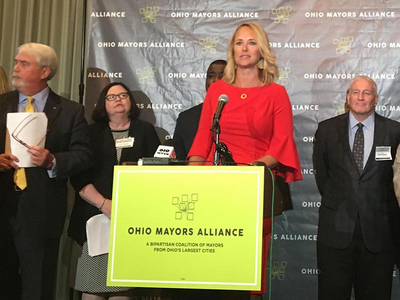 Findlay Mayor Lydia Mihalik speaks at the Ohio Mayors Alliance press conference.