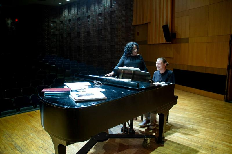 Soprano Dione Parker Bennett and pianist Scott Ewing rehearse for an Ohio Song Project performance.