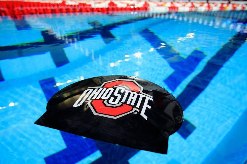 Ohio State swim cap in pool.