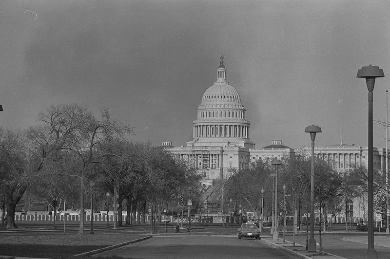 Smoke rises near U.S. Capitol during a riot, 1968
