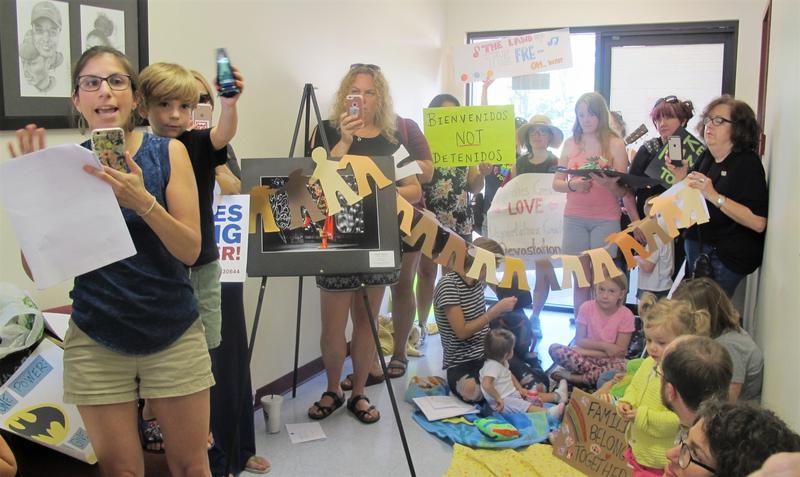 Constituents of Rep. Steve Stivers occupy his Hilliard office to protest the Trump administration's immigration policies.