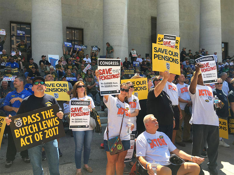 Thousands of union workers and retirees rallied at the Ohio Statehouse on Thursday, July 12 all on Congress to pass a plan that saves their pensions.