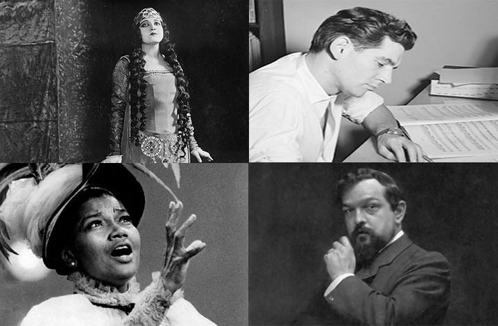 Rosa Ponselle (top left), Leonard Bernstein (top right), Pearl Bailey (bottom left) and Claude Debussy (bottom right)