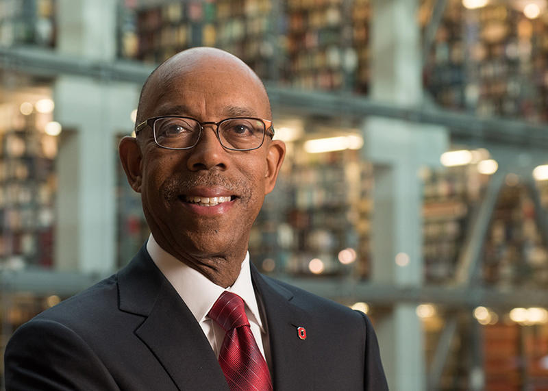 Ohio State University President Michael Drake pictured in Thompson Library.