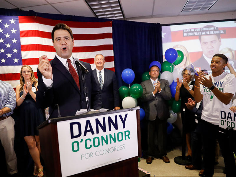 Danny O'Connor speaks during an election night watch party at the Ohio Civil Service Employees Association, Tuesday, Aug. 7, 2018, in Westerville.