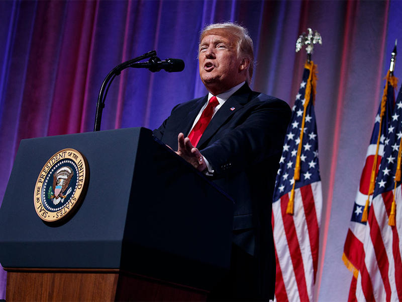 President Donald Trump speaks to the Ohio Republican Party State Dinner, Friday, Aug. 24, 2018, in Columbus.