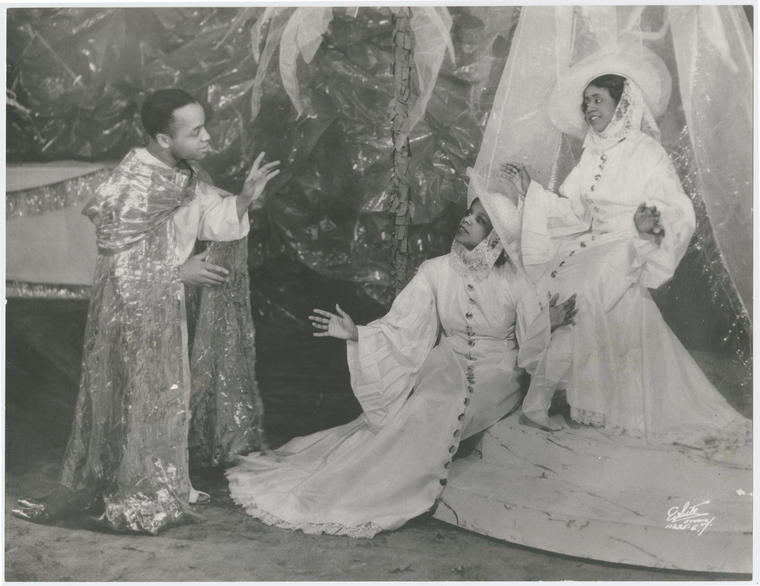 Edward Matthews as St. Ignatius, Bruce Howard as St. Teresa II and Beatrice Robinson-Wayne as St. Teresa I in the theatrical production Four Saints in Three Acts, 1934