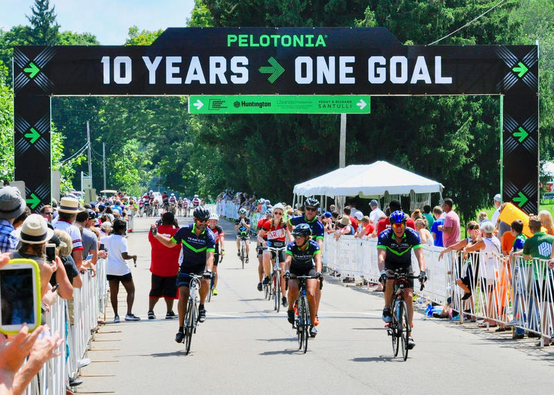 Bicyclists in the 2018 ride of Pelotonia, in Gambier, Ohio.
