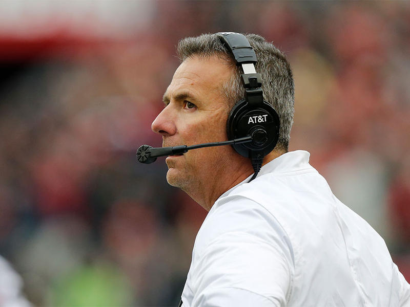 Ohio State head coach Urban Meyer instructs his team against Penn State on Oct. 28, 2017, in Columbus.