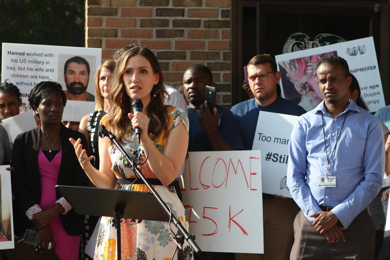 Columbus City Council member Elizabeth Brown at a rally to protest a new refugee admission cap.