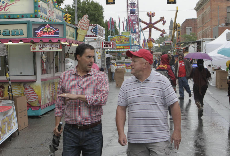 Sen. Frank LaRose (R-Hudson) at the Marion Popcorn Festival with former Marion County GOP Chairman Gary Risch. LaRose is running for Secretary of State.