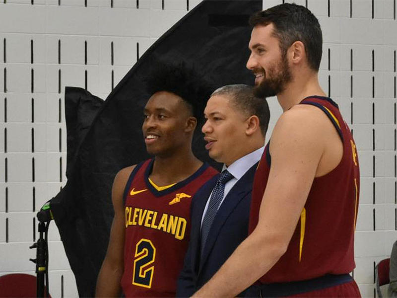 Cleveland Cavaliers rookie Collin Sexton (from left), head coach Ty Lue and Kevin Love pose for a picture during the team's media day on Monday.