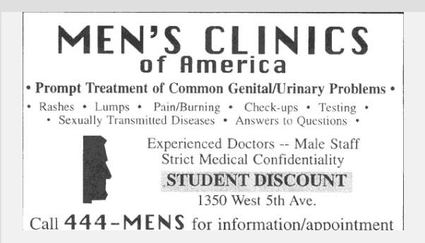 An advertisement for an off-campus clinic operated by Ohio State Dr. Richard Strauss doctor accused of groping young men appeared in the November 1, 1996 appeared in The Lantern.