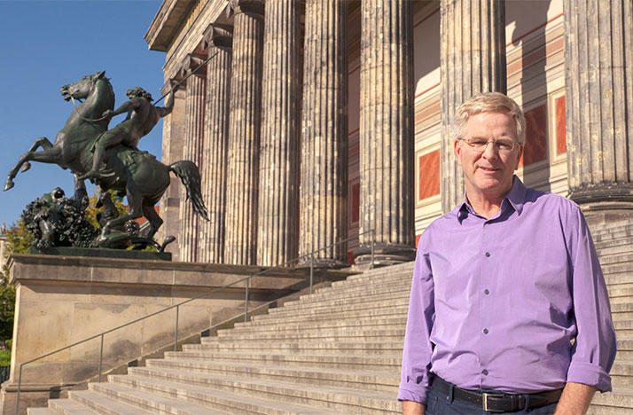 Rick Steves at the Altes Museum in Berlin.