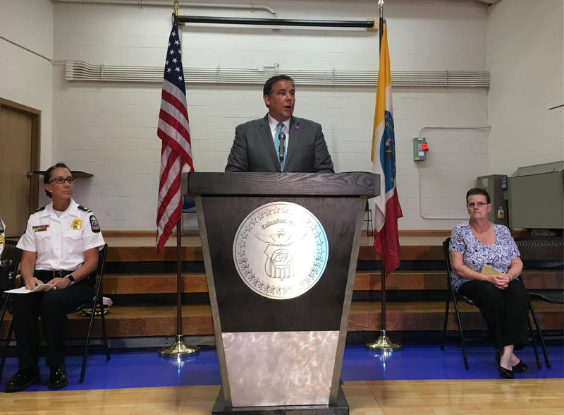 Mayor Ginther speaking about Safe Streets at the Reeb Center on Columbus' South Side