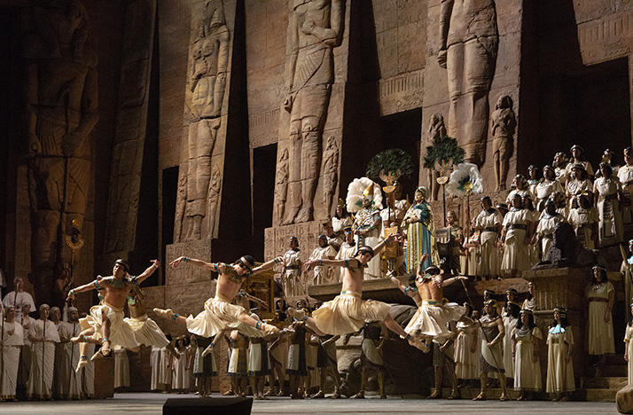A scene from Act 2 of the Metropolitan Opera's Aida production