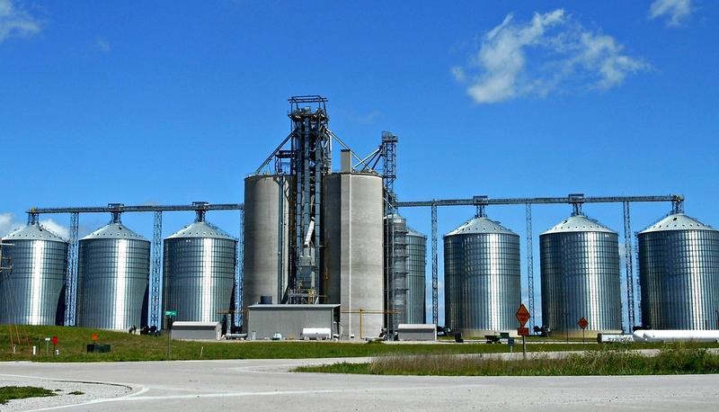 Grain silos like this one are common in rural Ohio. But many are full because of the productive growing season and a marketplace bogged down by Chinese tariffs.