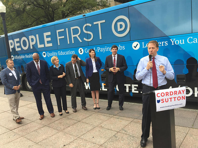 Democratic governor nominee Rich Cordray with the rest of the Democratic ticket for statewide office in Columbus get ready to kickoff a tour of Ohio.
