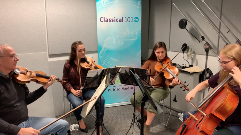 A Chamber Brews ensemble performs in the Classical 101 studios: (from left) advisor and violinist Tom Fetherston, director and violinist Devin Copfer, advisor and violist Rachael Keplin, director and cellist Elisabeth Jeremica.