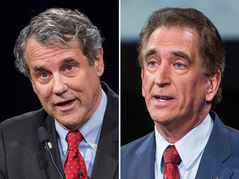 Democrat Sen. Sherrod Brown,  (left) and Republican Rep. Jim Renacci speaks during a debate at the Idea Center in Playhouse Square, Sunday in Cleveland.