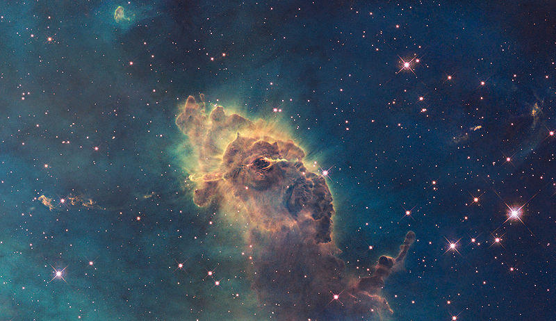 The Carina Nebula, located 7,500 lightyears away, captured in visible light by the Hubble Space Telescope.