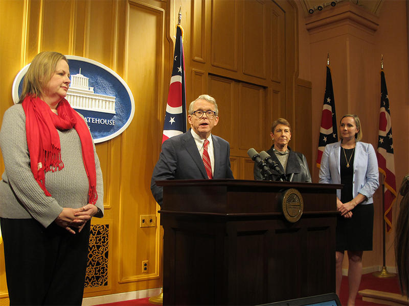 Gov.-elect Mike DeWine (center) introduces members of his transition team (l-r): Communications Director Lisa Peterson, Director of Transition Committee Laurel Dawson and LeeAnn Cornyn, in the newly created position of Director of Children's Initiatives.