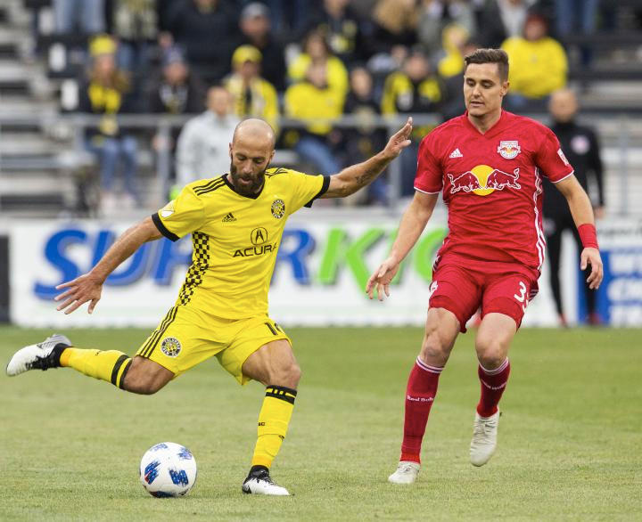Columbus Crew SC midfielder Federico Higuain prepares to kick the ball during game one of the Eastern Conference semifinals against New York Red Bulls on Nov. 4 at Mapfre Stadium.